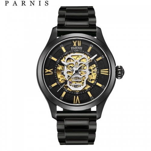 42mm Parnis Sapphire 21 Jewels Miyota Automatic Boy Men's Watch Skull Decor Dial