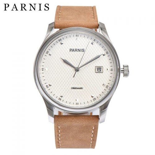 43mm Parnis Automatic Movement Date Men's Mechanical Watch Stainless Steel Case