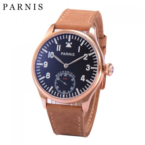 Parnis Watch Men Hand Winding Mechanical Watches Luminous Number Rose Gold Case Men's Wrist Watch