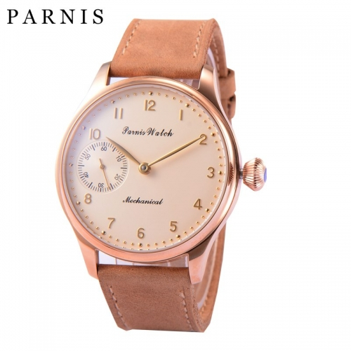 44mm Parnis Hand Winding Movement Men's Mechanical Watch Small Second Best Gift