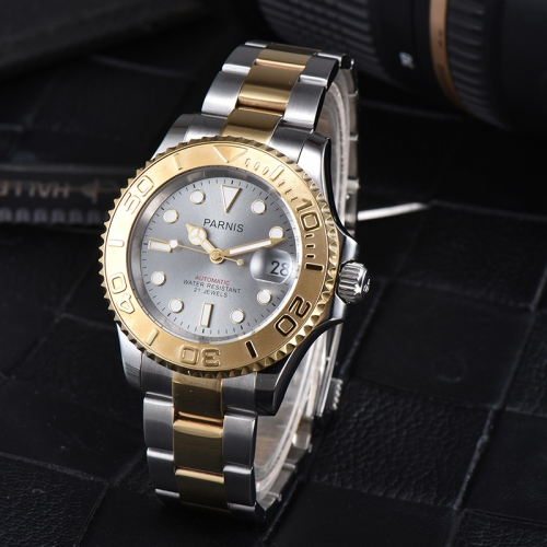 41mm Parnis Miyota Automatic Men Luxury Watch Gold Rotating Bezel Luminous Mark