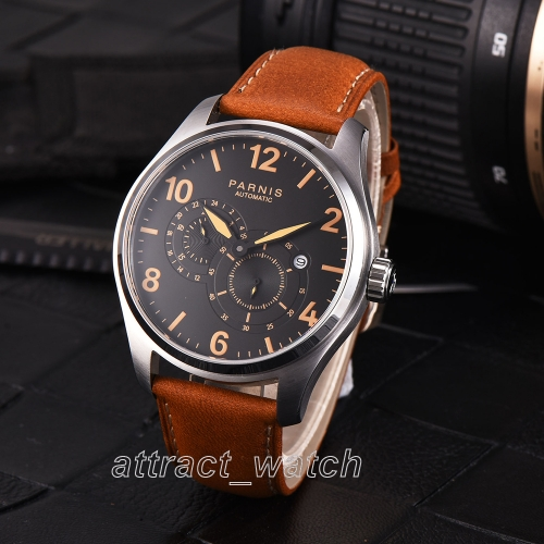 44mm Parnis Miyota 8219 Automatic Mechnical Men Wrist Watch 24-hour Small Second